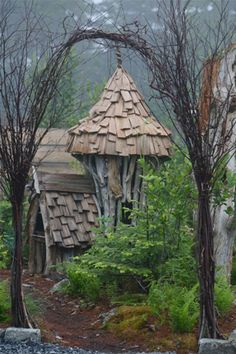 Not sure which I like more-- the fairy house or the lovely willow arch?  Fairy house, Coastal Maine Botanical Gardens