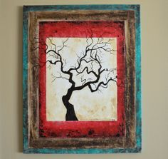 Birds on a Tree Silhouette Original Painting by sheriwiseman, $139.00