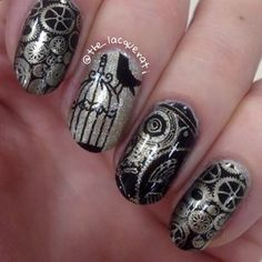 """Decided to have a go at a steam punk mani for @ukbeautyaddicts theme """"touch of…"""