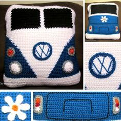 VW Van PillowThis crochet pattern / tutorial is available for free... Full post: VW Van Pillow