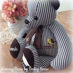 Memory Bears, Repurposing, Teddy Bears, Stitches, First Love, Dinosaur Stuffed Animal, Memories, Toys, Animals