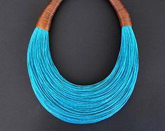 OOAKStatement Fiber Necklace Cotton Necklace by superlittlecute