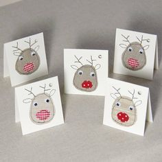 Items similar to Christmas Reindeer Tags, Handmade Christmas Gift Tags, Funny Holiday Decor, Fabric Card, Merry Xmas on Etsy Set of 5 Christmas gift tags with reindeer applique. The small card is a fun addition to every Christmas gift. Homemade Christmas Cards, Handmade Christmas Gifts, Personalized Christmas Gifts, Christmas Cards To Make, Christmas Gift Tags, Handmade Gifts, Small Christmas Gifts, Christmas Vacation, Christmas Presents