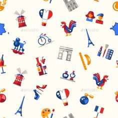 France Travel Icons Seamless Pattern