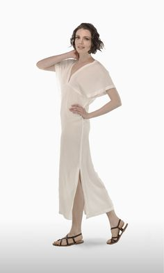 The Double V in Off White Rayon | A JOSA tulum favorite! A sexy plunging neckline is echoed in the back. Short kimono-style sleeves and a maxi length skirt add drama and sophistication.