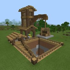 Make hole in ground more circular and it would look even better. Then have a mining base for strip mines at the bottom Château Minecraft, Construction Minecraft, Minecraft Building Guide, Minecraft Houses Survival, Easy Minecraft Houses, Amazing Minecraft, Minecraft Blueprints, Minecraft Crafts, Minecraft Designs