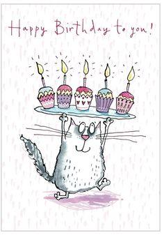 Happy Birthday - cat and cupcakes Birthday Wishes Quotes, Happy Birthday Messages, Happy Birthday Greetings, Birthday Greeting Cards, Happy Birthday Pictures, Happy B Day, Birthday Fun, Birthday Cats, Happy Birthday With Cats