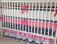 Hey, I found this really awesome Etsy listing at https://www.etsy.com/listing/180763393/preppy-pink-navy-and-white-ruffled-crib