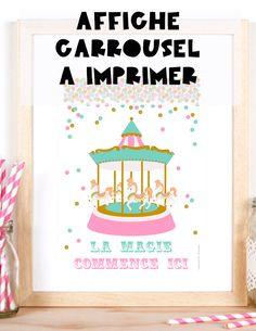 Fairground carousel poster to print Invitation Fete, Carrousel, First Birthdays, Design Inspiration, Funfair, Frame, Happy, Poster, Nintendo