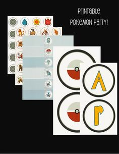 Pokemon Party - printable party package.  Includes, Pokemon Cupcake Toppers, Pokemon Banner, Pokemon Water Bottle Labels, Pokemon Fire Type Labels (for coffee cups), Pokeman Badges to earn