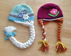 Elsa & Anna - Frozen Hats Crochet Projects - Designs By Megan - Patterns now available! (Nov.2014) www.designsbymegan.com