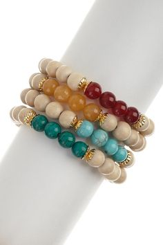 Carnelian & Yellow Agate Bracelet Set on HauteLook