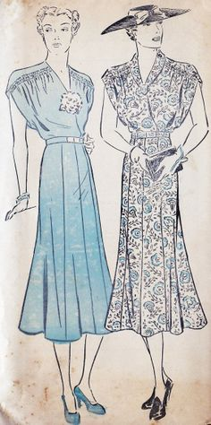 1930s Misses Dress Vintage Sewing Pattern by MissBettysAttic, $38.00