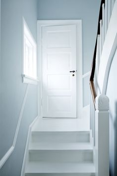 Trendy white stairs scandinavian home Ideas Pale Blue Bedrooms, Pale Blue Paints, Pale Blue Walls, Blue Hallway, Rustic Stairs, White Stairs, Hallway Designs, Hallway Ideas, Scandinavian Home