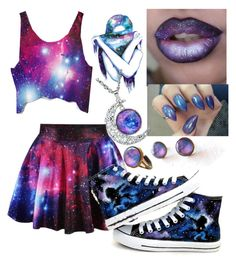 """""""Purple Galaxy"""" by life-turmoil ❤ liked on Polyvore featuring Converse and WALL"""