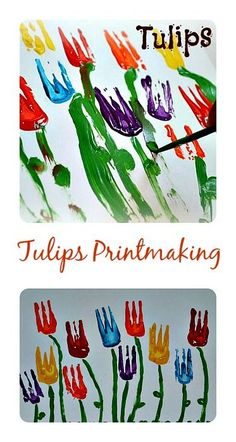 Tulips Spring Art for kids  all ages. Printmaking for toddlers through kinder age.