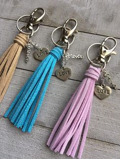 7ca3b35a2 Mini Tassel Key Chain and Bag Charm with Love & Forever Charms - Valentine  Gift for Girlfriend, Wife