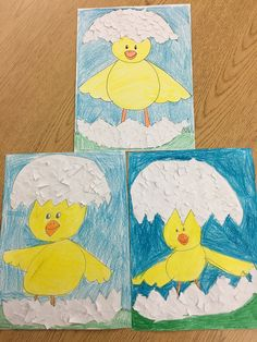 Kindergarten Directed Draw & Tear Art: Spring Hatching Chick - Tear white paper for cracked shell effect Kindergarten Art Lessons, Kindergarten Crafts, Preschool, Classroom Art Projects, Art Classroom, Drawing For Kids, Art For Kids, Arte Elemental, Tears Art