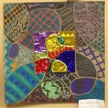 Multimedia Zentangles - Colored metal, lines and designs continued on construction paper - Art Projects from MN Art Gal