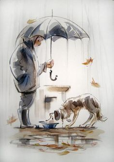 """Teplov Sergey...cute! I'm outdoors with my dog often, even in the rain, though he's an """"insider."""""""