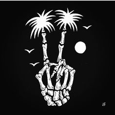 Peace Out!✌️ It's the weekend! #jamiebrowneart #peaceout #bones #palmtrees…