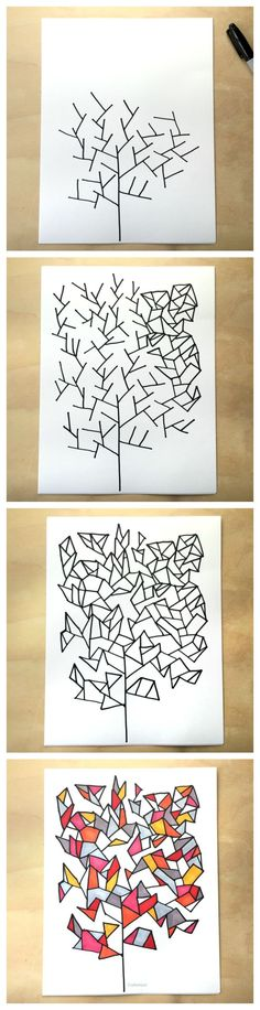 Simple drawing game- draw some geometry trees - from Tangle Art and Drawing Games for Kids book