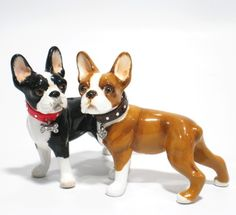 GIFTS  BOSTON TERRIER HAND PAINTED SALT  PEPPER DOG SET