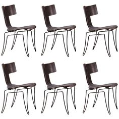 Set of Six Klismos, Leather Anziano Chairs by John Hutton for Donghia | From a unique collection of antique and modern dining room chairs at https://www.1stdibs.com/furniture/seating/dining-room-chairs/