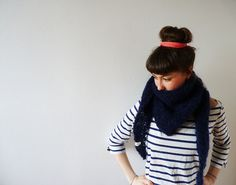 Never out of fashion Navy Mohair Shawl Hand-Knitted by CreaKy on Etsy, €60.00