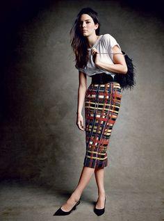 Fashion Editorial:Kendall Jenner in white tee andBalmainskirt forVogue Magazine.