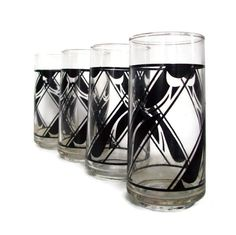 Vintage Tumblers Drinking Glasses Black by MerrilyVerilyVintage