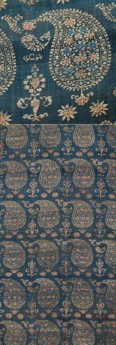 Antique Persian Textile. Silk Brocade with Silver Thread.  Safavi Dynasty  1501-1722 A.D Circa 1700