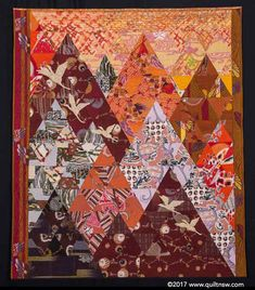 Wings of Hope by Barbara Gower. 2017 Sydney Quilt show. Japanese Quilt Patterns, Japanese Quilts, Small Quilts, Mini Quilts, Quilting Designs, Quilt Design, Asian Quilts, Medallion Quilt, Tree Quilt
