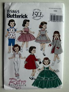 Butterick 5865 Retro Sewing Pattern Makes American Girl Doll Clothes Girl Doll Clothes, Doll Clothes Patterns, Clothing Patterns, Doll Patterns, Girl Dolls, Fashion Patterns, Ag Dolls, Girl Clothing, Clothing Styles