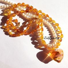 Honey Amber Necklace One of A Kind Necklace Heart LampWork Amber Necklace Amber /Rav /Bärnsten Necklace - Handmade Jewelry by Ziddharta by Ziddharta on Etsy