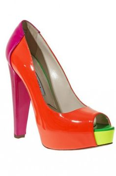 A pop of color for the season.  Brian Atwood Alima Colorblock Fluorescent Platform Pump, $761, available at Neiman Marcus,