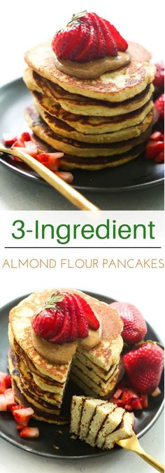 These Almond Flour Pancake Recipe is made in a blender, packed with protein and it's gluten/sugar-free! Delicious and easy to make! This Almond Flour Pancake Recipe is made in a blender, packed with protein, and is gluten- and sugar-free! Sugar Free Pancakes, Almond Flour Pancakes, Gluten Free Pancakes, Almond Flour Recipes, Sugar Free Breakfast, Recipes With Flour, Desserts With Almond Flour, Baking With Almond Flour, Mexican Breakfast