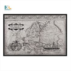 Map of Europe Framed Graphic Art on Metal East Urban Home Mixed Media Photography, House Map, Nature Scenes, World Cultures, Wall Hooks, Aluminium, Fractals, Stencil, Vintage World Maps