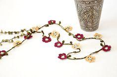 Burgundy Beige Crochet Flowers Olive Green Leaves Oya Lariat Necklace Holiday Jewellery Beadwork ReddApple Gift Ideas for Her