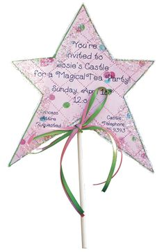 Princess Wand invitation: use scrap booking paper, glitter, silver marker, lollipop stick and some ribbon