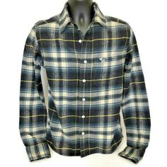 Abercrombie & Fitch Flannel Jac-Shirt Shirt Small Plaid Heavy Blue Lumberjack #AbercrombieFitch #CasualWorkwear Mens Flannel Shirt, Plaid Flannel, Blue Plaid, Flannel Outfits, Flannel Clothing, Casual Work Wear, Men Casual, New Boston, Abercrombie Fitch