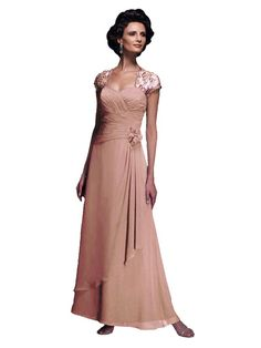 Mother of the Bride Dress with Cap Sleeve Long Chiffon 210647 (Apricot, Size 10). Authentic Cameron Blake by Mon Cheri Dress - Style: 210647. SIZE 10: 37.5 inch bust, 30.5 inch waist, 40.5 inch hips. Sweetheart Neckline; Beaded Lace Cap Sleeves. Ruched Bodice, Low Waist; Floral Detail. Long A-Line Chiffon Layered Skirt; Apricot Chiffon Fabric.