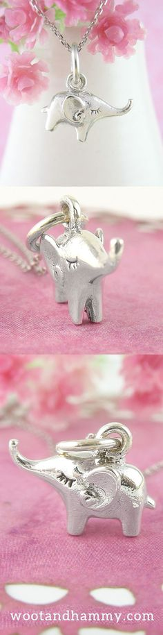 Little Lucky Elephant Necklace Elephant Ears, Little Elephant, Elephant Necklace, Clay Animals, Long Lashes, Animal Jewelry, Elephants, Things To Think About, Shrimp