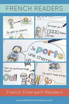 """French Emergent Readers: printable mini-books to get your beginning French students reading! Also involves fine motor practice through cutting and pasting. Includes """"big classroom books"""" for shared reading or for a mini-lesson before independent practice. Pour les lecteurs débutants – en français."""