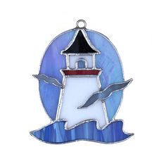 Lighthouse with Seagulls Switchables Stained Glass Ornament Stained Glass Night Lights, Stained Glass Ornaments, Stained Glass Christmas, Stained Glass Suncatchers, Faux Stained Glass, Stained Glass Lamps, Stained Glass Designs, Stained Glass Panels, Stained Glass Projects