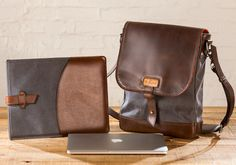 Pad & Quill's crafted leather gear bags // Field Bag, $329 // Charcoal & Whiskey Leather.  Just topped my Christmas list