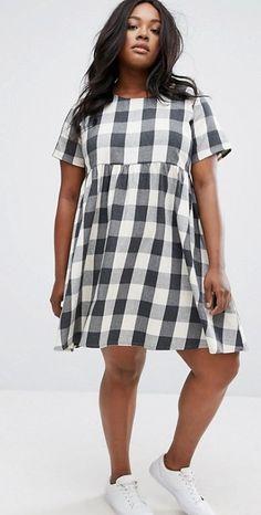 Plus Size Gingham Check Smock Dress