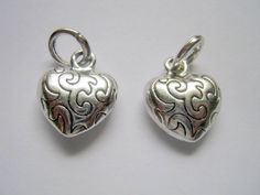 Silver Tone Love Heart Charm/Pendant - 2pc