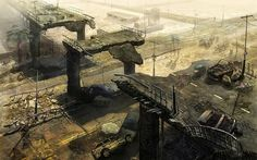 Post-apocalyptic city ruins Wallpaper. Artist copyright unconditionally acknowledged - just wish I could create such stunning pieces.