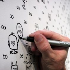 wallpaper design that allows you to draw animals, funny faces and monsters